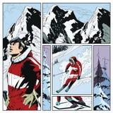 Collage su corsa con gli sci di tema Illustrazione di riserva illustrazione di stock