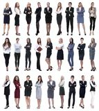 Collage of successful modern businesswoman. isolated on white royalty free stock photography