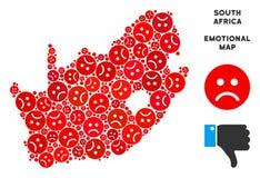Collage sud-africain de carte de République de crise de vecteur des smiley tristes illustration libre de droits