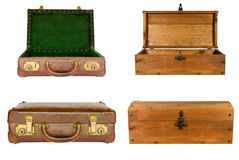 Collage of suitcases and chests isolated Stock Image
