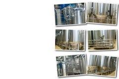 Collage sull'attrezzatura bianca del fondo per produzione della birra Immagine Stock Libera da Diritti