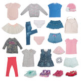 Collage of summer baby clothes isolated Stock Photos