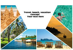Collage of summer beach images - nature and travel background Royalty Free Stock Image