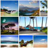 A set of photos of summer holidaym. Collage of summer beach images - nature and travel background (my photos Royalty Free Stock Photos