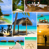 Collage of summer beach maldives images Royalty Free Stock Photos