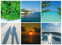 Collage of summer beach maldives images - nature and travel background Royalty Free Stock Photography