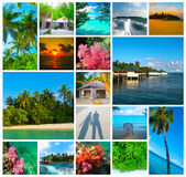 Collage of summer beach maldives images - nature and travel background Royalty Free Stock Photos