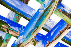 Collage of summer beach panorama. Nature background Royalty Free Stock Photo