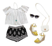 Collage of summer clothes isolated on white Stock Photography