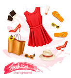 Collage of summer clothing and accessories. Stock Photo