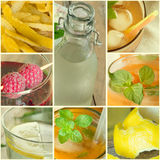Collage of summer Fruit drinks Stock Image