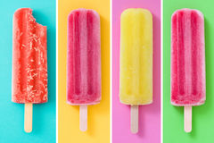 Collage of summer popsicles. On differents colorful background stock image