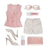 Collage of summer women clothes and accessories isolated on white Royalty Free Stock Photo