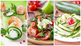 Collage of summery fresh appetizers Royalty Free Stock Photo