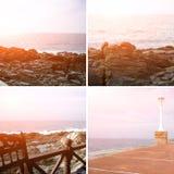 collage Sun-entonado de la costa costa rocosa del océano Fotos de archivo libres de regalías