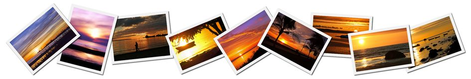 Collage of sunset photos. A set or collage of a variety of sunset photos Royalty Free Stock Images