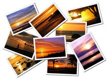 Collage of sunsets. Collage of picturesque ocean sunset pictures isolated on white background Stock Photos