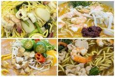 Collage suroriental de los platos de los tallarines de Singapur del asiático foto de archivo