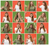 Collage about surprised and happy beautiful woman royalty free stock image