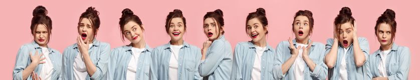 Collage about surprised and happy beautiful woman stock image