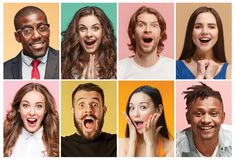 The collage of surprised people. The collage of faces of surprised people on colored backgrounds. Happy men and women smiling. Human emotions, facial expression stock photo