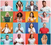 The collage of surprised people royalty free stock image