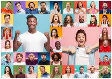 The collage of surprised people stock photo