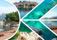 The collage of Sveti Stefan island in Montenegro Stock Photography
