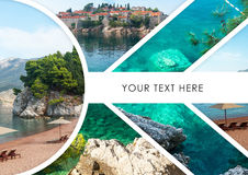 The collage of Sveti Stefan island in Montenegro Stock Photos