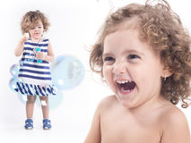 Collage of sweet child playing with bubbles and smiling Royalty Free Stock Photography