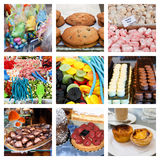 Collage of sweet and delicious treats Stock Photos