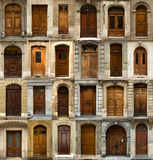 Collage of swiss wooden doors Stock Photo