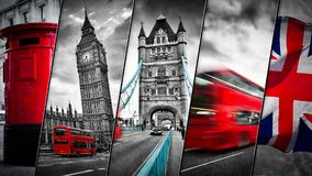 Collage of the symbols of London, the UK. Red buses, Big Ben, red postbox, and the Union Jack flag. Traditional England in vintage, retro style. Red in black Stock Image