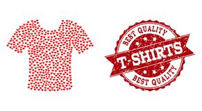 Valentine Heart Mosaic of T-Shirt Icon and Grunge Watermark royalty free illustration