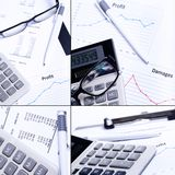 Collage. Table full of graphs Stock Images
