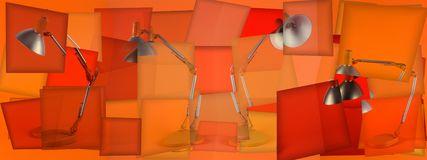 Collage with Table lamps for an orange background.  stock illustration