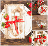 Collage: Tableware and silverware with red strawberries. And decorations on the wooden background Stock Photography