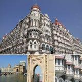 Collage with Taja Mahal hotel  in Mumbai Royalty Free Stock Photos