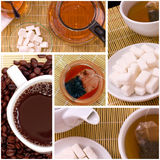 Collage of tea anf coffee Stock Photography