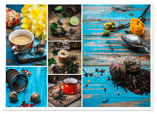Collage tea brew. Collage of tea paraphernalia and scattered leaves on wooden table Royalty Free Stock Photos