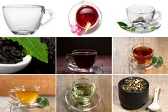 Collage of tea. Cup, spoon, Royalty Free Stock Images