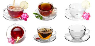 Collage of tea. Cup, spoon, saucer, green Stock Photo