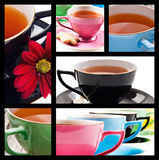 Collage of teacups in different colors Stock Photography