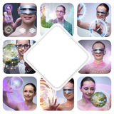 The collage of techno girl photos Stock Images