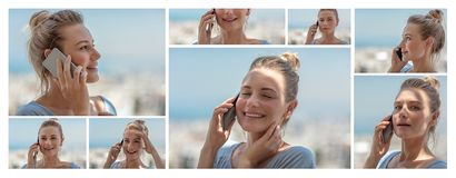 Collage. Daily technology use. Photo collage of a pretty happy woman talking on the phone, enjoying communication, using modern technology stock image
