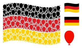 Collage tedesco d'ondeggiamento della bandiera delle icone del pallone di celebrazione royalty illustrazione gratis