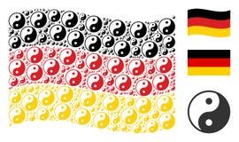 Collage tedesco d'ondeggiamento della bandiera di Yin Yang Icons illustrazione vettoriale