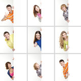 A collage of teenagers holding white banners Royalty Free Stock Photos