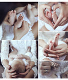 Collage of tender photos of mother and her beautiful little baby Stock Photography