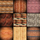 Collage of textures resembling wood tiles Stock Photos